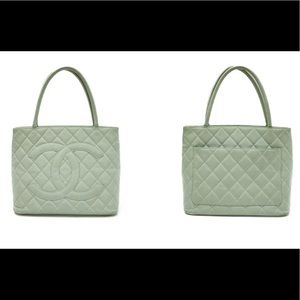 Authentic CHANEL Medallion Tote Caviar Mint Color